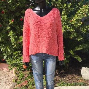 FREE PEOPLE Coral Knit Sweater